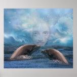 Fantasía del niño y del delfín del añil poster