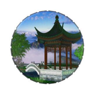 Fantasía del paisaje de la naturaleza de la pagoda frascos de dulces