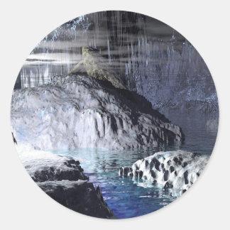 fantasía del pingüino del arte 3d pegatina redonda