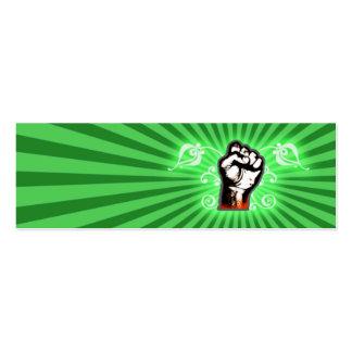 Fantasía del puño de la mano (verde) tarjetas de visita mini