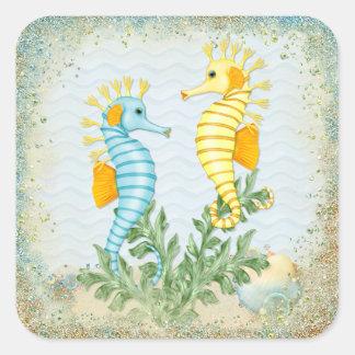 Fantasía del Seahorse Pegatina Cuadrada