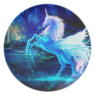 Fantasía del unicornio de la placa de la melamina plato para fiesta