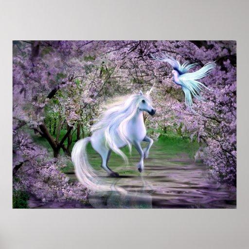 Fantasía del unicornio de la primavera impresiones