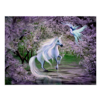 Fantasía del unicornio de la primavera póster