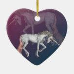 Fantasía del unicornio ornamentos de navidad