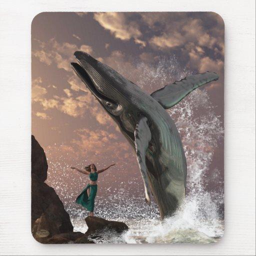 Fantasía del vigilante de la ballena alfombrillas de ratón