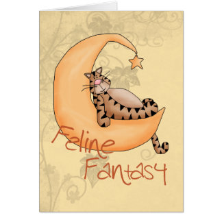Fantasía felina tarjeta de felicitación