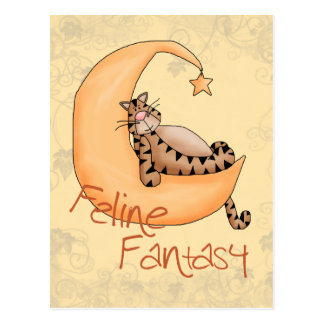 Fantasía felina tarjeta postal