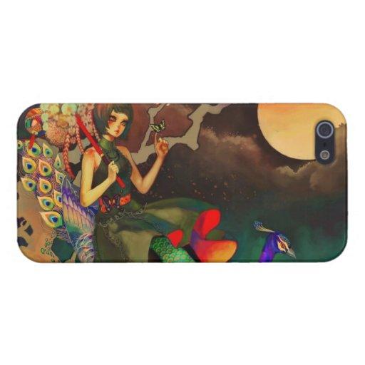 Fantasía femenina de la princesa y del pavo real iPhone 5 fundas