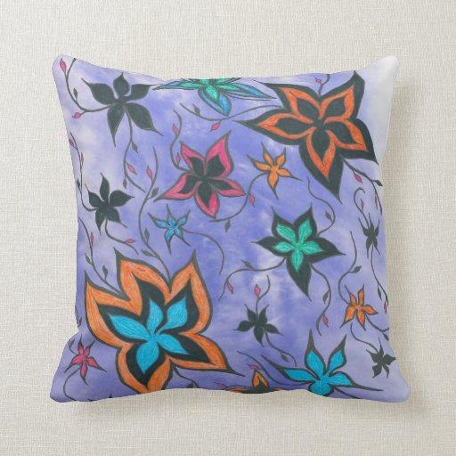 Fantasía floral en azul almohada