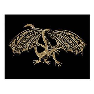 Fantasía grabada en relieve oro del dragón postal