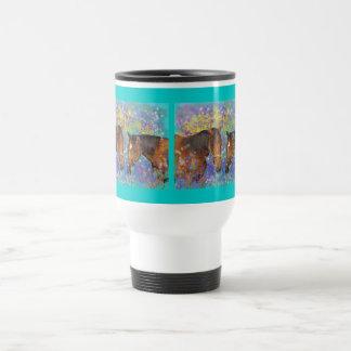 Fantasía ideal del caballo que protagoniza dos cab tazas de café