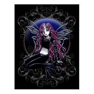 Fantasía mágica de la hada del rosa del espejo de tarjeta postal