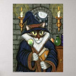 Fantasía mágica del hechicero del gato del mago de póster