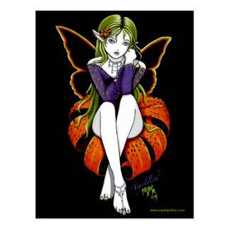 Fantasía oscura de hadas de la flor de la postal d
