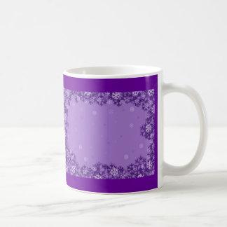 Fantasía púrpura del copo de nieve taza de café