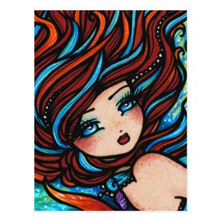 Fantasía subacuática de la sirena principal roja postales