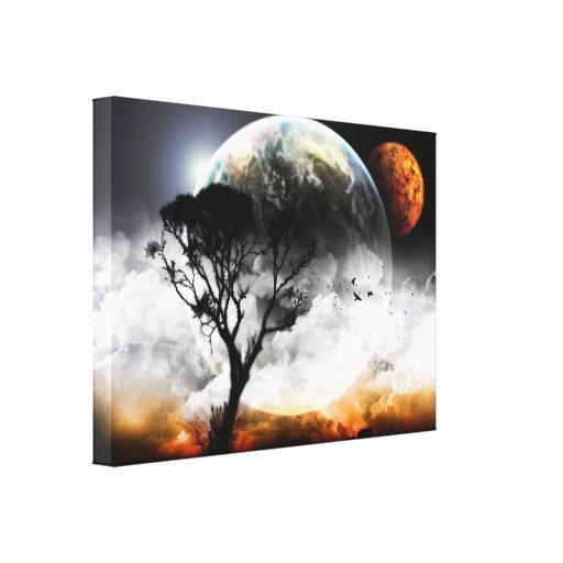 Fantasía surrealista de las lunas lona estirada galerías