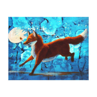 Fantasía surrealista roja del Fox Kitsune en azul Impresión En Lienzo