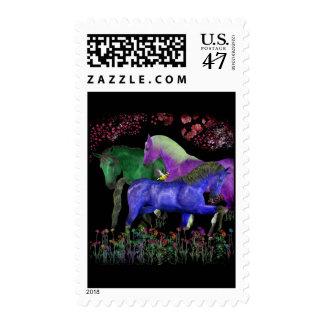 Fantasical coloreó el diseño del caballo, parte timbres postales