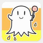 Fantasma alegre calcomania cuadrada personalizada