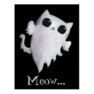 Fantasma asustadizo del gato del gatito tarjeta postal