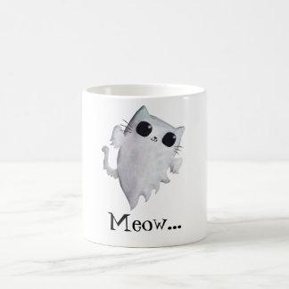 Fantasma asustadizo del gato del gatito taza de café