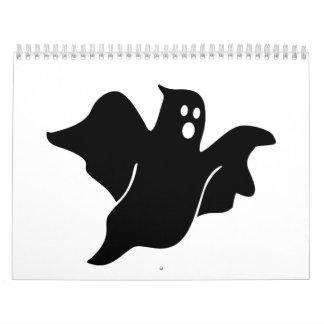 Fantasma asustadizo negro calendarios de pared