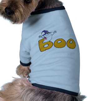Fantasma asustadizo que sale del texto del abucheo camiseta de perrito