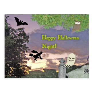 Fantasma, bruja que vuela y búho para la noche de  tarjeta postal