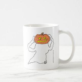 Fantasma con la cabeza de la calabaza taza de café