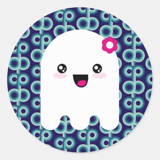 Fantasma de Kawaii Pegatina Redonda