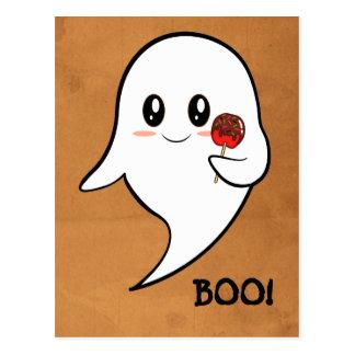 Fantasma de Kawaii que sostiene una manzana Tarjetas Postales