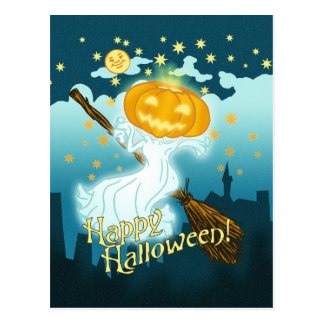 Fantasma de la calabaza de Halloween del vintage Tarjetas Postales