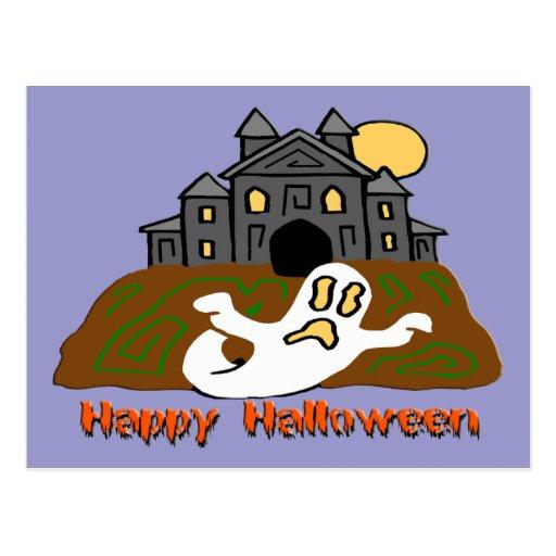 Fantasma de la casa encantada tarjeta postal