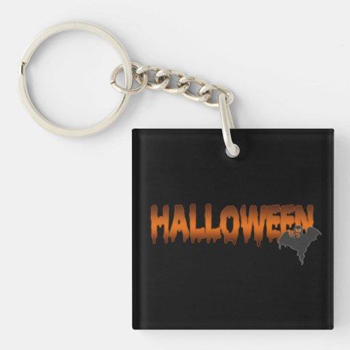 Fantasma de las letras de Halloween Llavero Cuadrado Acrílico A Doble Cara
