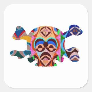 Fantasma del cráneo n: Mascota del africano de Calcomanía Cuadrada Personalizada