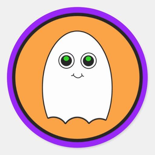 Fantasma del dibujo animado de Halloween Etiquetas Redondas