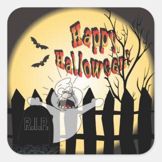 Fantasma del feliz Halloween en un cementerio Pegatina Cuadrada