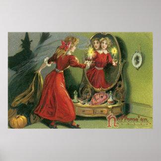 Fantasma del gato negro de la bruja de la calabaza póster