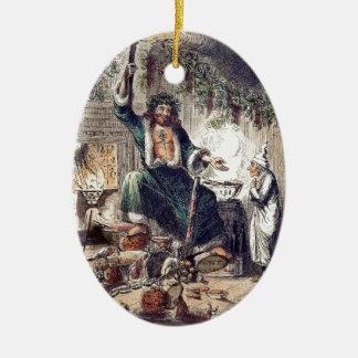 Fantasma del regalo de Navidad con Scrooge Adorno Navideño Ovalado De Cerámica