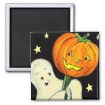 Fantasma del vintage de Halloween e imán de la cal