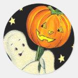 Fantasma del vintage del feliz Halloween y pegatin Pegatina Redonda