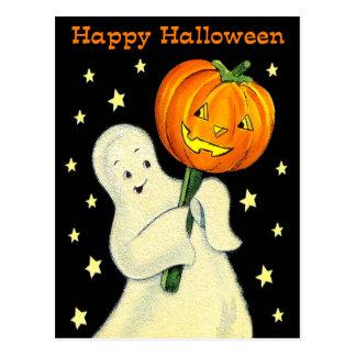 Fantasma del vintage del feliz Halloween y postal