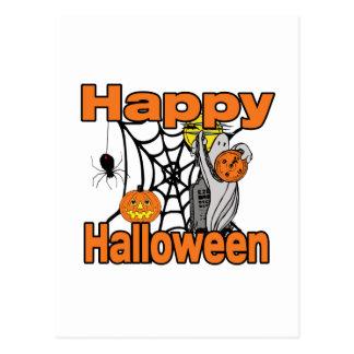 Fantasma del Web de araña del feliz Halloween Tarjeta Postal