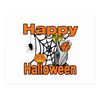Fantasma del Web de araña del feliz Halloween Postal