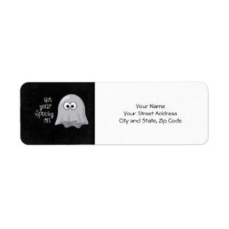 Fantasma divertido, lindo de Halloween; Consiga su Etiqueta De Remitente