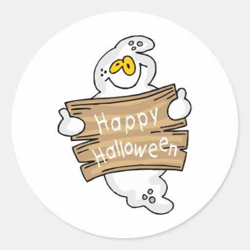 Fantasma lindo con la muestra del feliz Halloween Pegatina Redonda