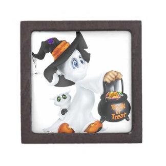 Fantasma lindo de Halloween Caja De Recuerdo De Calidad