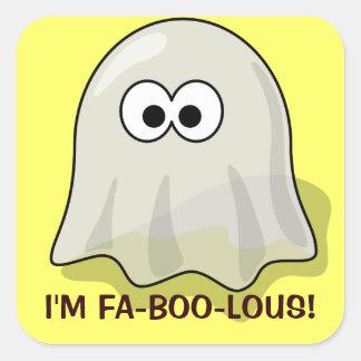 Fantasma lindo de Halloween del dibujo animado de Pegatina Cuadrada